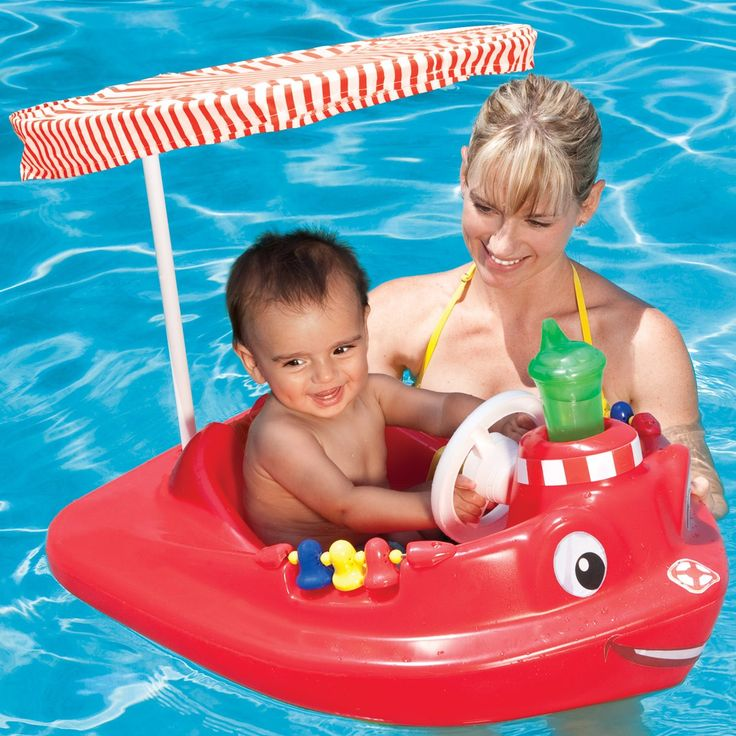 Tug Boat Is A Baby Pool Float With Canopy And Many Interactive Features