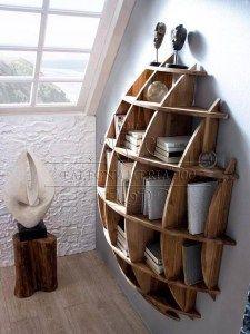 Libreria moonlight: libreria in legno massello bombata realizzata a mano
