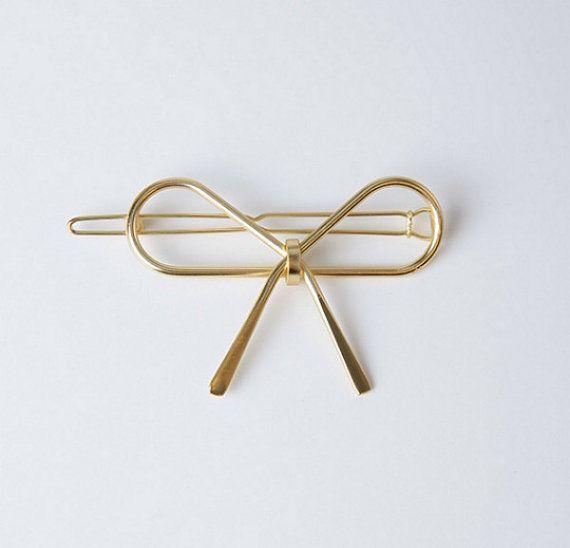 Metal Gold Barrette Gold bow gold hair bowmetallic by Designsbygrg