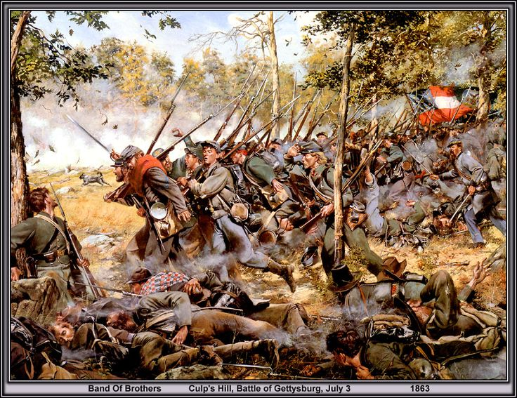 The 2nd Maryland Infantry at Spangler Spring, east of Culps Hill at Gettysburg