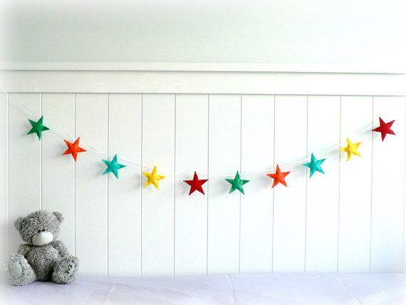 Star garland - felt star banner - You pick your colors - Green, orange, turquoise, yellow, red - nursery decor