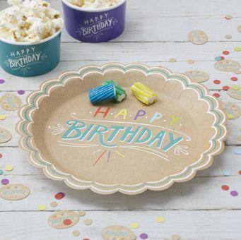 "A pack of stunning kraft """"Happy Birthday"""" paper plates."