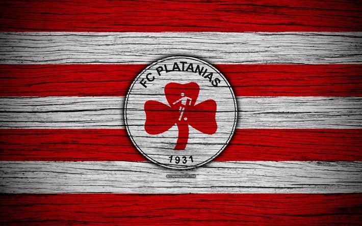 Download wallpapers Platanias FC, 4k, wooden texture, Greek Super League, soccer, football club, Greece, Platanias, logo, FC Platanias