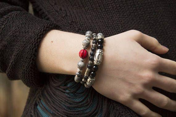 Retrouvez cet article dans ma boutique Etsy https://www.etsy.com/fr/listing/265088531/boho-3in1-bracelet-melon-rouge-bracelet