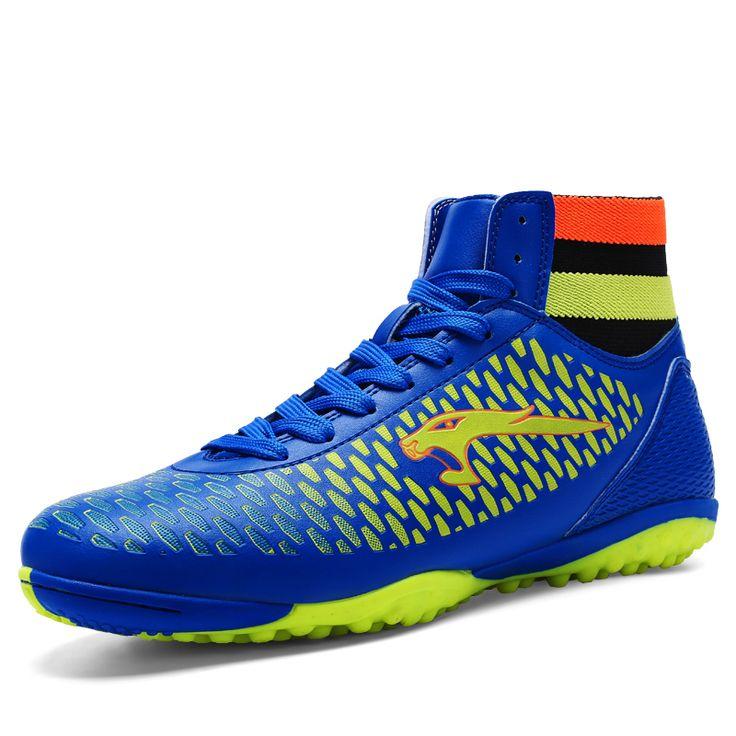 2017 Best Selling  Men Kids Sock Boots Football Lace Up Children Soccer Boots Indoor Cleats Blue/Gold Football Boot Men Original