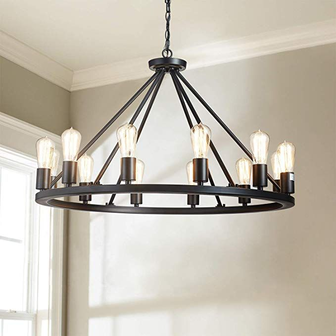 Saint Mossi Antique Painted Metal Chandelier Lighting Black Finish 12 Lights Chandelier Diam 32 Inch P In 2020 Iron Chandeliers Metal Chandelier Farmhouse Chandelier