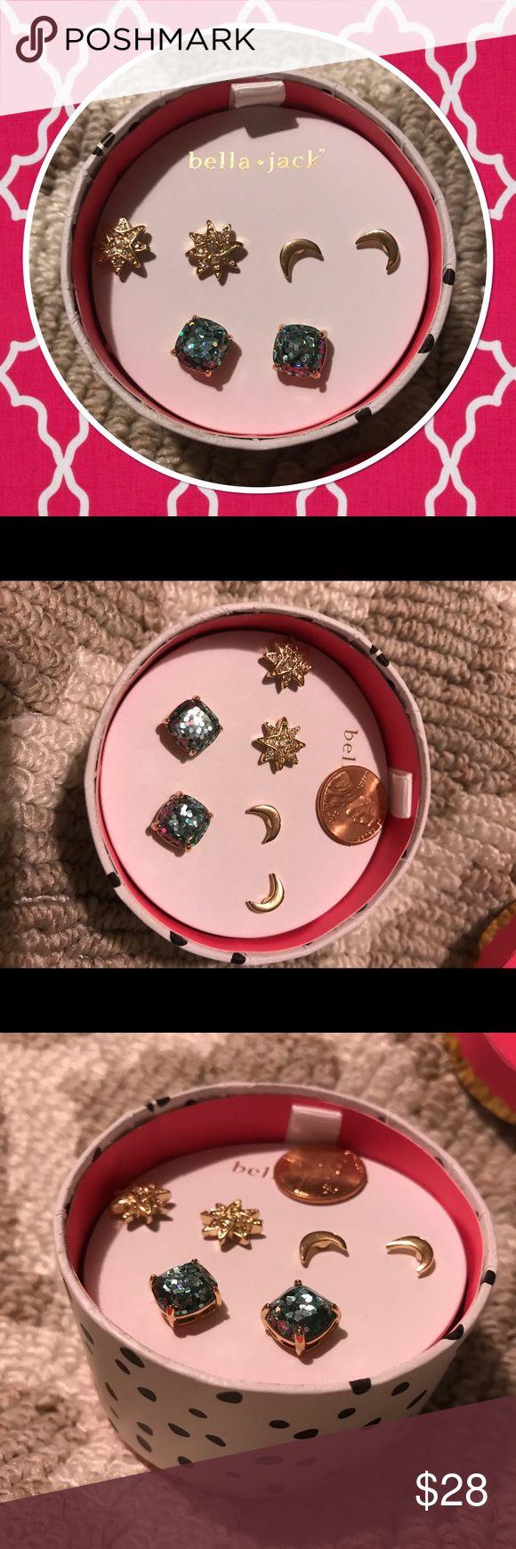 Bella and Jack Stud Trio Blue glitter gumdrop earrings.  Gold crescent earrings.  Sparkle star earrings.  All brand new in box.  Would make a great gift! bella + jack Jewelry Earrings
