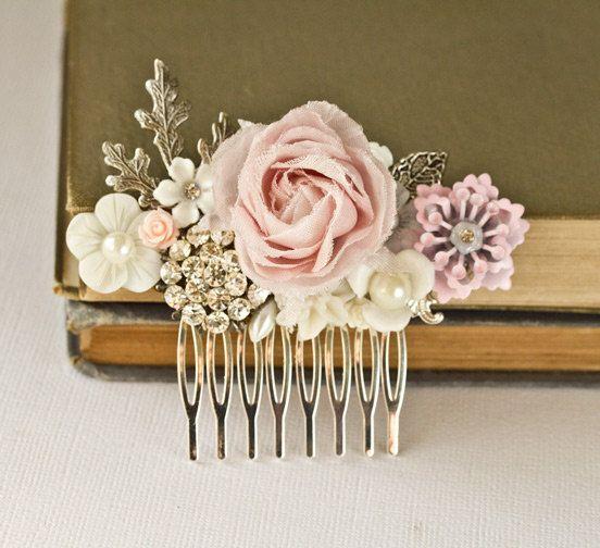 Peine del pelo novia Shabby Chic rosa cabello pieza por lonkoosh