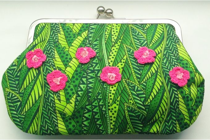 Tropical, one-of-a-kind fabric clutch bag by M A Labour of Love