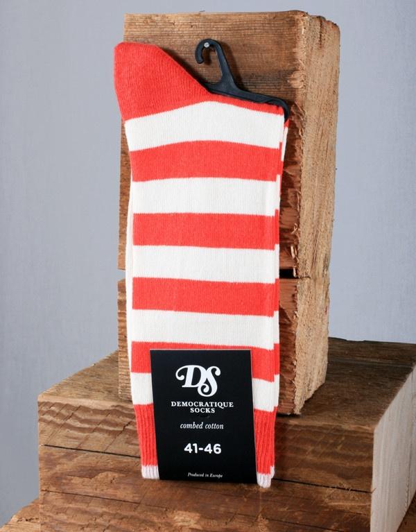 Democratique Socks Striped Sock - Red/White
