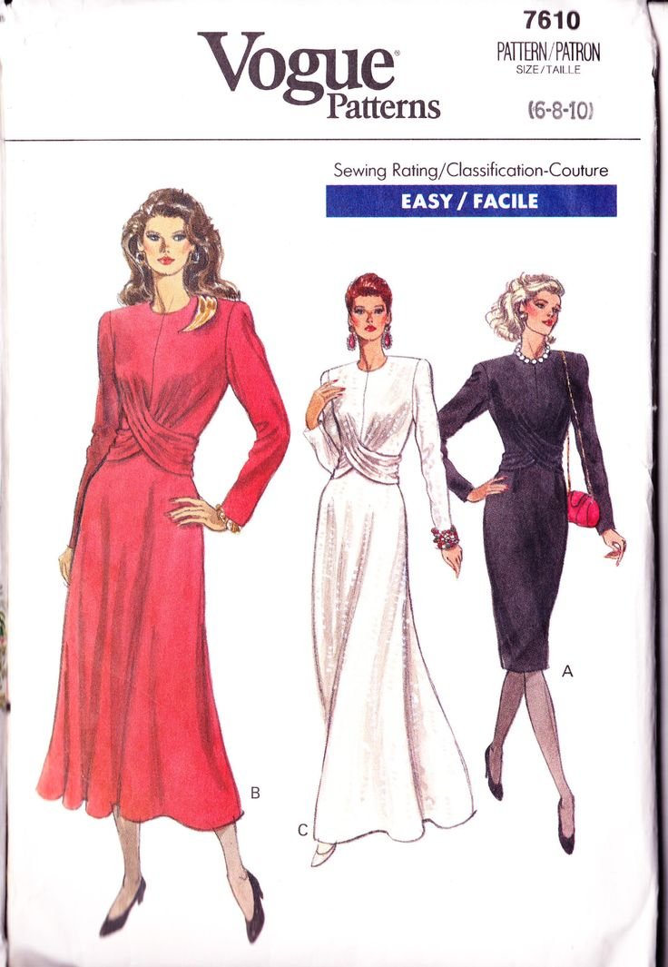 Easy Sewing Pattern Draped Dress Pattern Evening Dress Long Sleeved Dress Flared Skirt Size Small Straight Dress Sewing Patterns Vogue 7610 by PatternsFromOz on Etsy