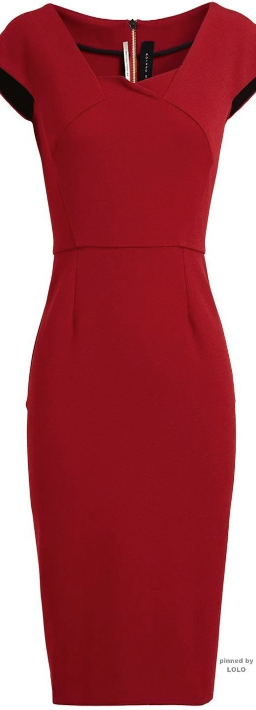 ROLAND MOURET Panelled Midi Dress