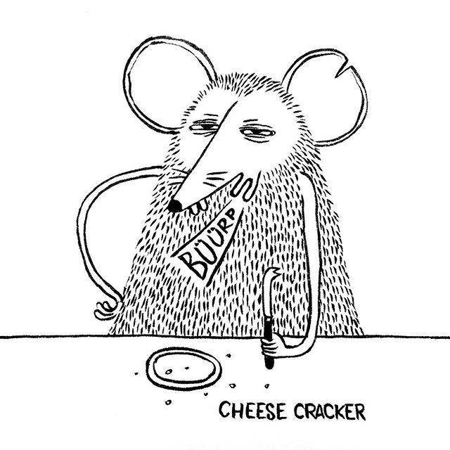 DAY 3 of Karo Rigaud's 2016 illustrated Advent Calendar: the Cheese Cracker!!! #illustration #drawing #creative #mouse #cheese #blackandwhite  #blackink #adventcalendar #advent #christmas #graphicroozane #comic