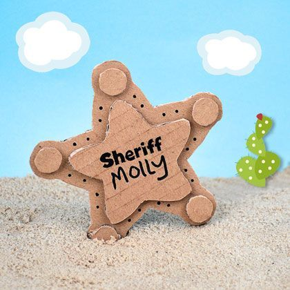 DIY Cardboard Sheriff Badge - if you have fans of Disney Junior's new Sheriff Callie character then they will love this | MollyMooCrafts.com