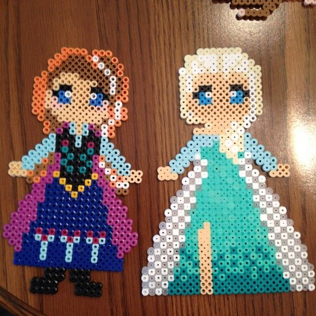 Anna and Elsa Frozen perler beads by perlerobsessed