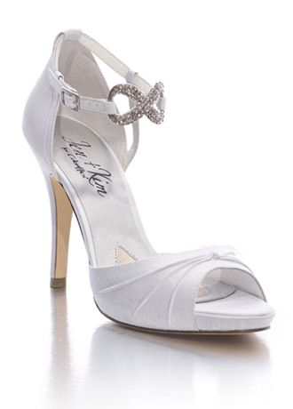 The infinity symbol :): David Bridal, Davids Bridal, Wedding Shoes, Kim Devotional, Bridesmaid Shoes, Infinity Symbols, White Silk, Bridal Shoes, Platform Sandals