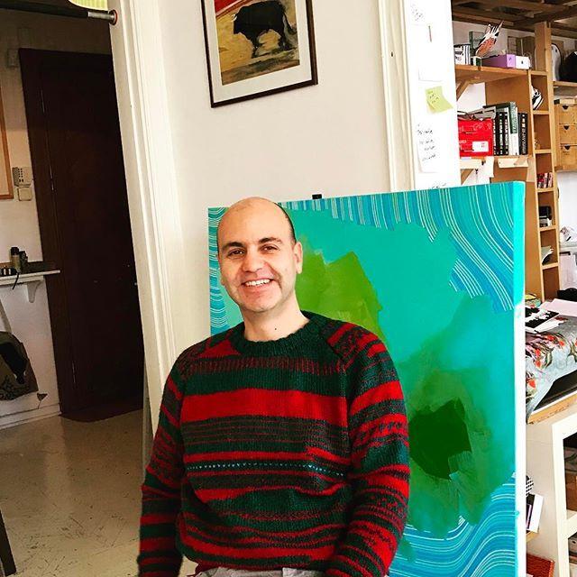 #yigityaziciatelier #yigityazici #painter #artist Filiz Yazici'nin harika kazaklari hand-knitted sweater from my mom