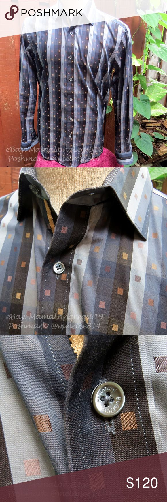 """Bugatchi Uomo Shaped Fit Plaid Striped Shirt Very handsome slim-fit Shaped Bugatchi Uomo long-sleeved button-down shirt, size S. Gorgeous, rich colors of golds, darker blues and grays and """"reverse print"""" inside, with well-complemented print on the interior rolled-sleeves.  A great shirt for work – business or pleasure!  Fantastic preowned condition. No rips, stains or tears. From a smoke-free home.  I love to work deals, so if you're interested in other items of mine, feel free to Bundle and…"""