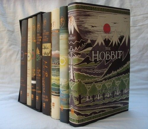 The boxed LoTR set, along with The Silmarillion, Unfinished Tales, The Hobbit, The History of the Hobbit: Mr. Baggins, and The History of the Hobbit: Return to Bag-End. I would kill to have this decorated set.