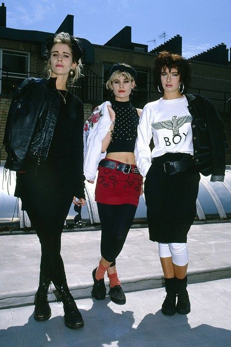 The more alternative style in the 80s included lather jackets, mini skirts with leggings under them, and lots of black.