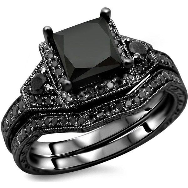 Noori Collection 14k Gold Princess-Cut Black Diamond Engagement Ring... ($1,596) ❤ liked on Polyvore featuring jewelry, rings, accessories, aneis, black, round engagement rings, bridal rings, 14 karat gold ring, 14k yellow gold ring and black diamond engagement rings