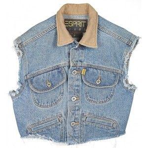 Rokit Recycled Blue Cropped Sleeveless Denim Jacket - Vintage clothing from Rokit - sleeveless denim jacket, cropped jacket, crop denim