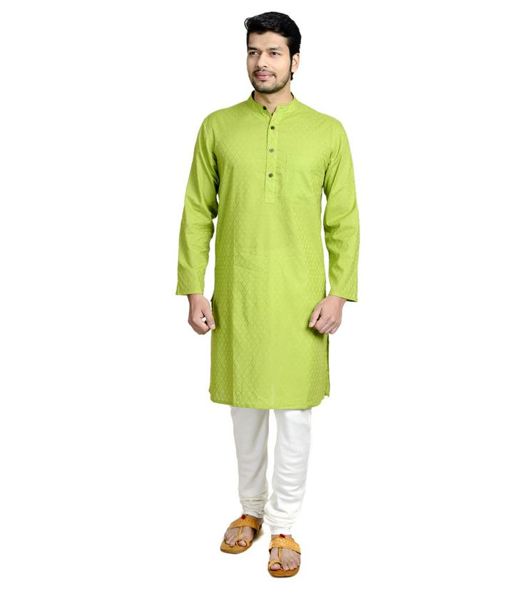 #Green Jacquard #Cotton #Long #Kurta by #Fabindia #Exclusively for #Indianroots
