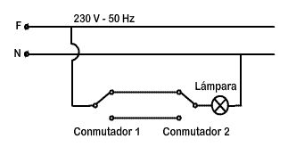 Esquema multifilar para el control de una lámpara desde dos puntos