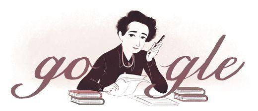 Google Doodle von heute: Hannah Arendt - Mehr Infos zum Thema auch unter http://vslink.de/internetmarketing