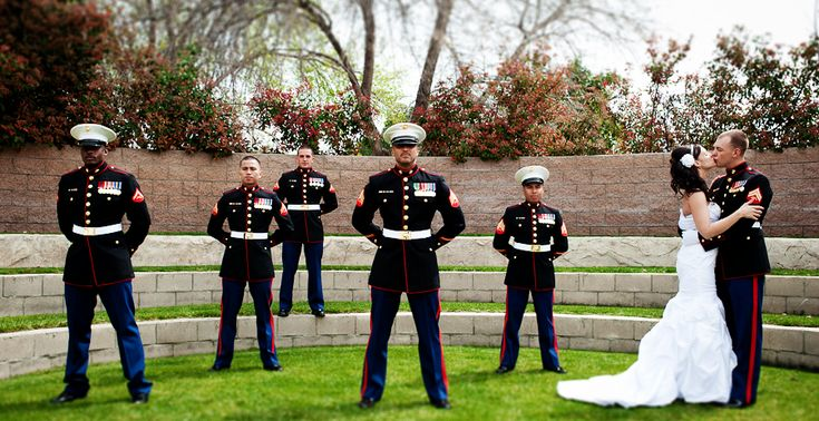I love this picture! I wish Rodney had more marine buddy's that could have made it to our wedding so we could have got a picture like this