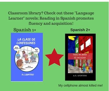 This resource features 2 Spanish Novels for levels 1 & 2. Level 1: La clase de confesiones 1 (2 novels)- present tense Level 2: Casi me mata el celular (2 novels)- past tense Synopsis: La clase de confesiones 1 Carlos hates Spanish class with a passion but finds the will to survive when he lays eyes on Jessica.