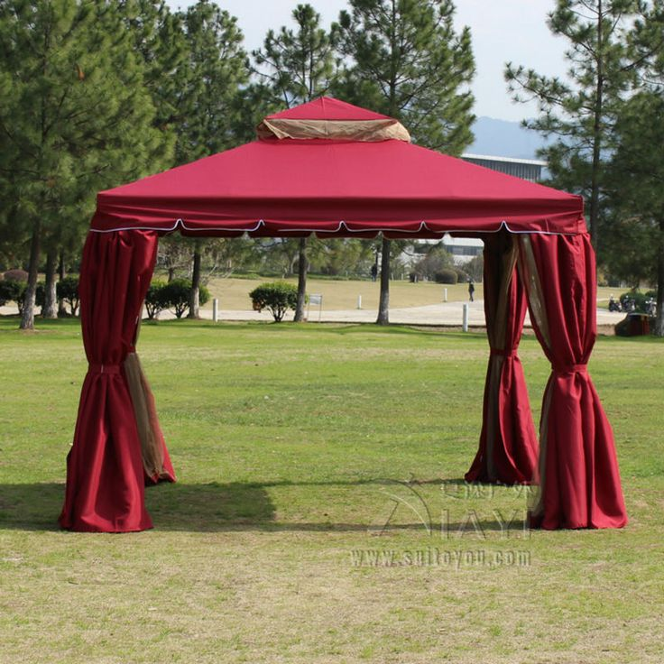 3*3 meter aluminum deluxe outdoor gazebo patio tent pavilion with sidewalls and gauze for garden decor (khaki ,red ,green)