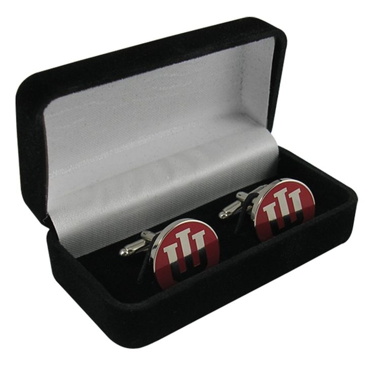 "Indiana University Crimson Block IU Cufflinks IUCL1N IMC-Retail. Size 0.75"" diameter. Indiana University Block IU die struck nickel plated with crimson enamel and bullet style toggle closure. Packaged in velvet hinged gift box. Imported by Indiana Metal Craft. IU Cufflinks."