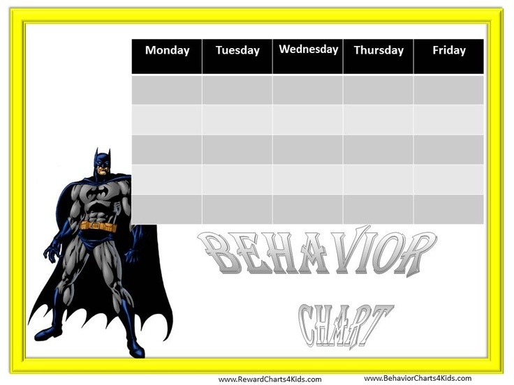 Behavior charts, Charts and Batman on Pinterest