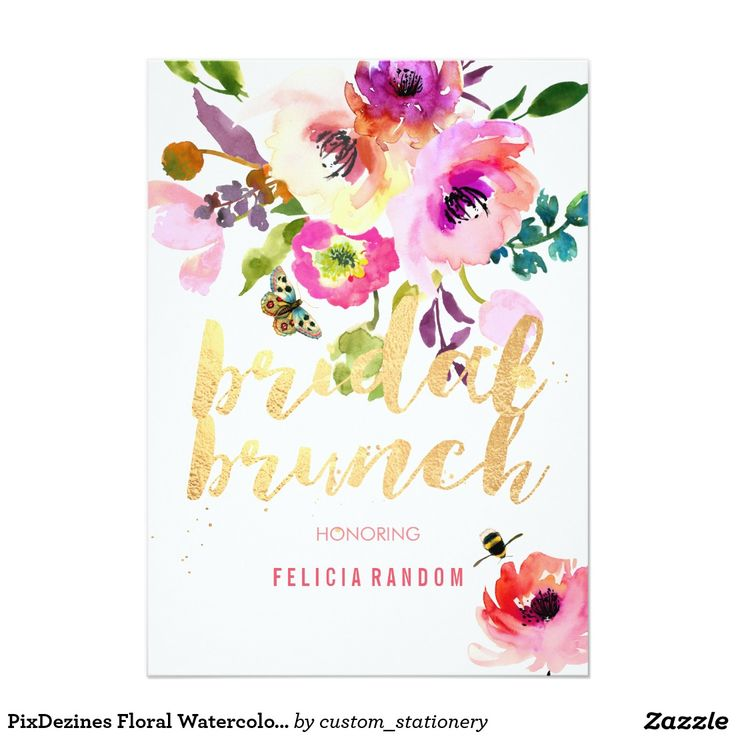 PixDezines Floral Watercolor Bridal Brunch/DIY Card