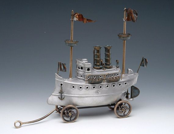 Steam Yacht Cast Aluminum and Bronze Steampunk Style by Nelles, $860.00: Cast Bronze, Yachts Cast, Cast Aluminum, Steampunk Style, Bronze Steampunk, Style Ships, Steam Yachts, Etsy Treasury, Steampunk Ships