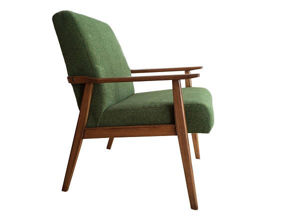 Mid Century Modern Armchair Green Chair Handmade Vintage