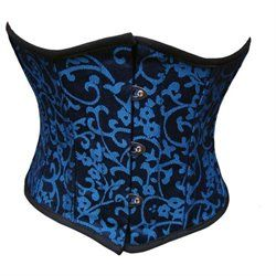 New Victorian Steampunk Corsets for Sale - Authentic Small Mini Blue Jacquard Spiral Steel Boned Waist Training Corset $69.99 #steampunk #corset