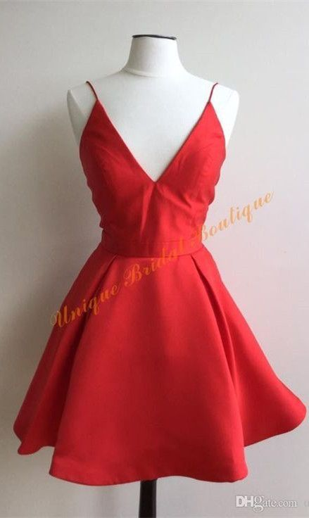 ada0614cf2a Cute A-line Straps Short Red Homecoming Dress Party Dress in 2019 ...