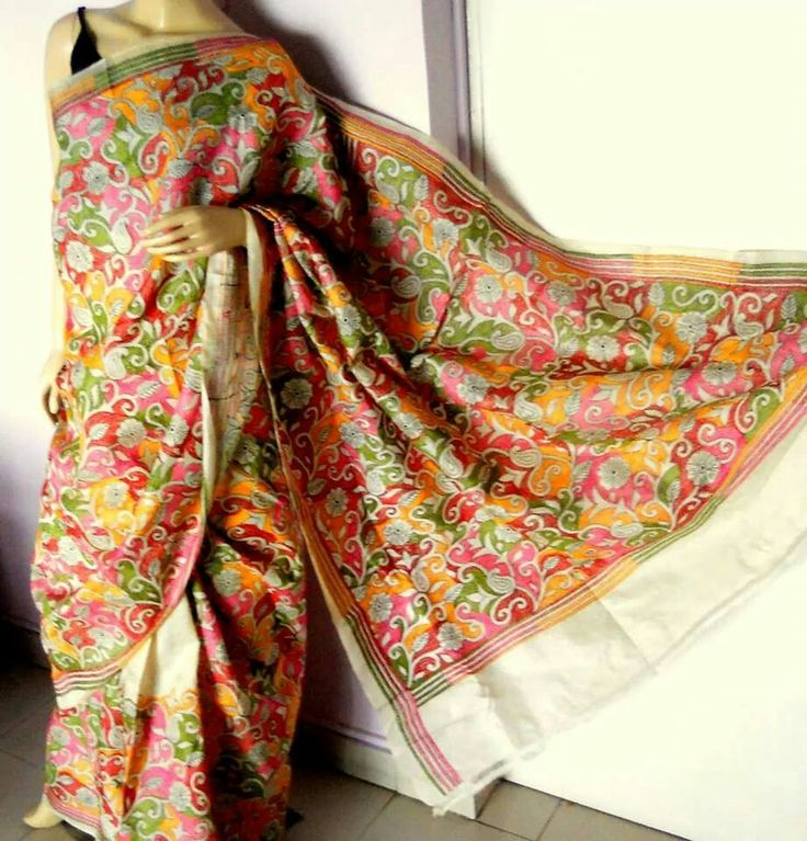 Multicolor reverse kantha on Bangalore silk