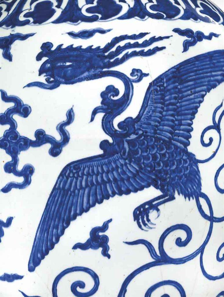 Rare vase en porcelaine bleu blanc, meiping, Chine, dynastie Ming, marque à six caractères et époque Wanli (1573-1619)