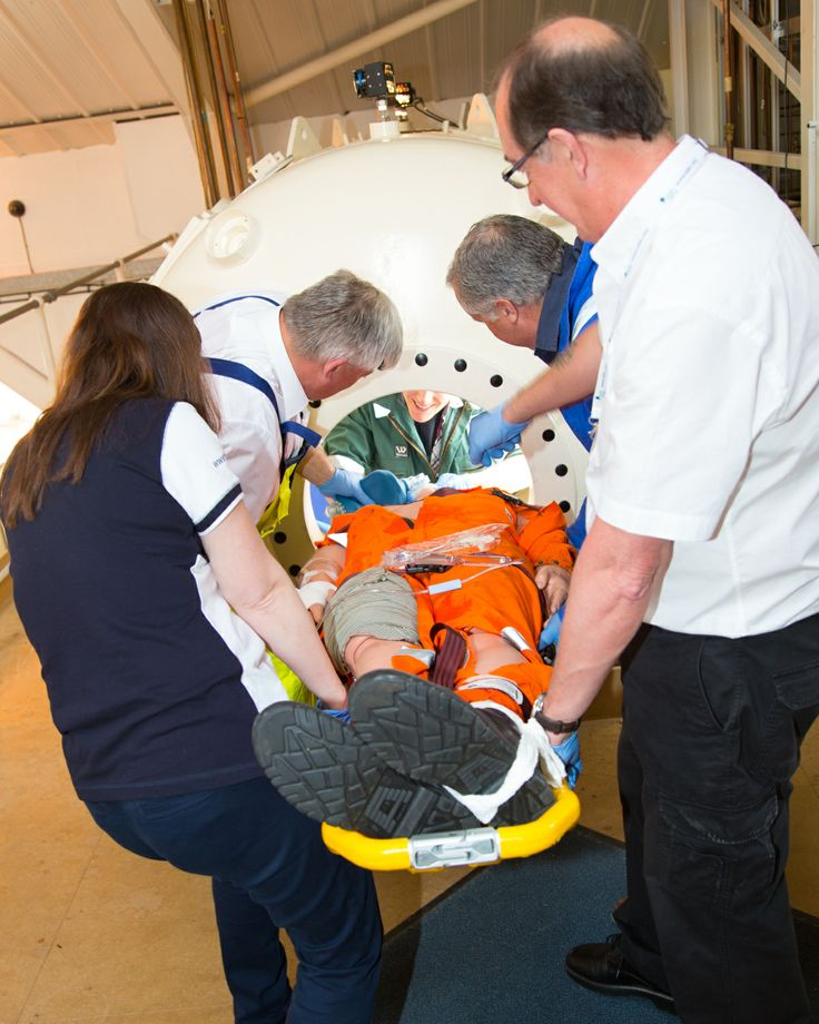 Medical training at the Hyperbaric Medical Centre in Plymouth. Loading a 'casualty' into a hyperbaric chamber.