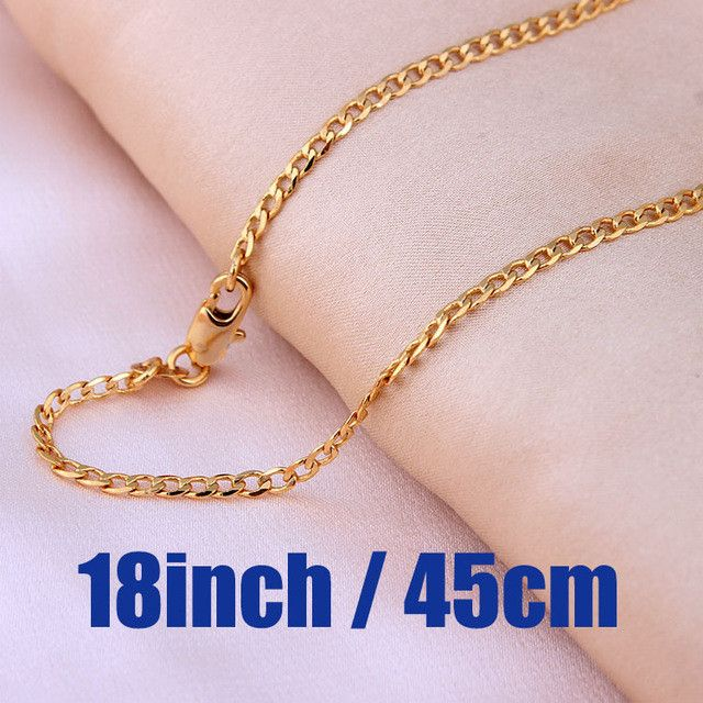 Men Gold plated Chains Necklace Chain Length Vary 2mm Costome Accessories Jewelry