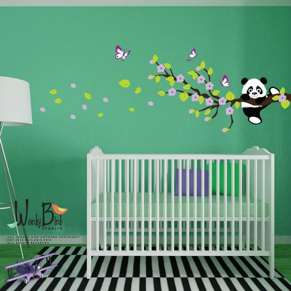 Panda wall decal with Butterflies and Cherry Blossom Branches, reusable kids wall decals, nursery mural