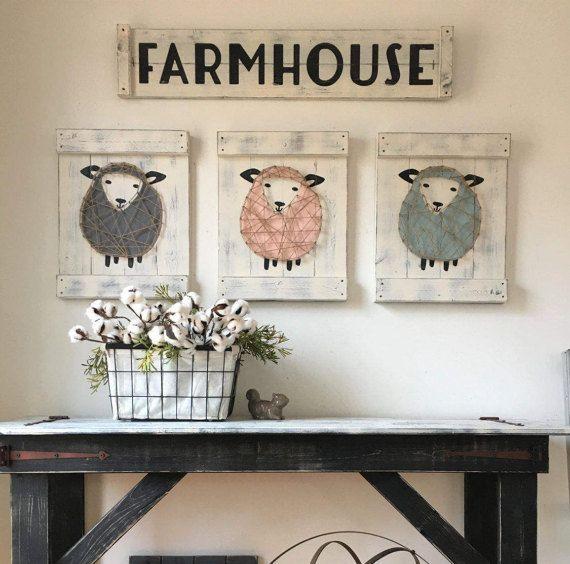 "SHEEP NURSERY DECOR, lamb nursery art, rustic sheep decor, above the crib, rustic boy nursery, rustic girl nursery, sheep nursery, 18"" x 14"""