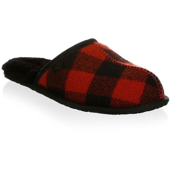 UGG Scuff Plaid Slippers (11395 DZD) ❤ liked on Polyvore featuring men's fashion, men's shoes, men's slippers, mens tartan shoes, mens slip on slippers, mens plaid slip on shoes, ugg mens shoes and mens plaid slippers