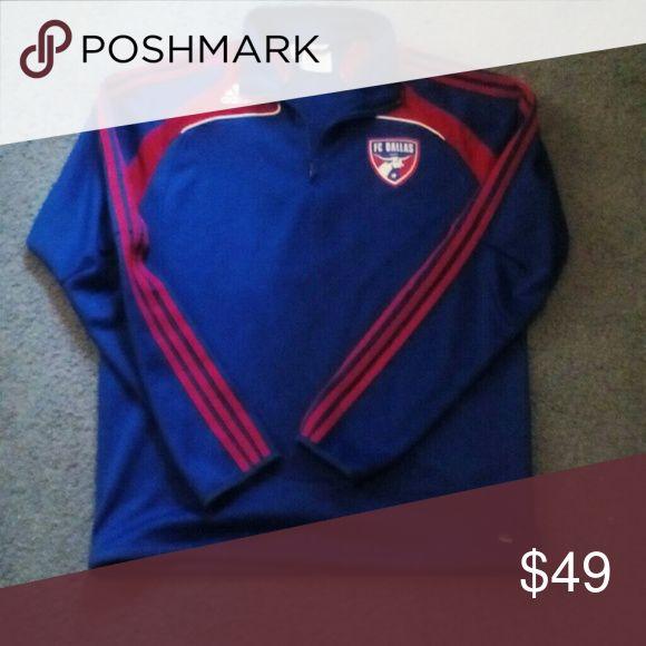 FC Dallas Blue Adidas MLS Soccer Football Jacket Clima Cool 365 jacket has large red adidas logo on back adidas Jackets & Coats Performance Jackets