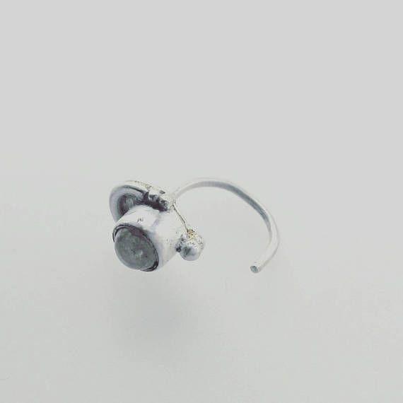 Moon. Silver ear hug. Single earring. Silver ear cuff. Stone