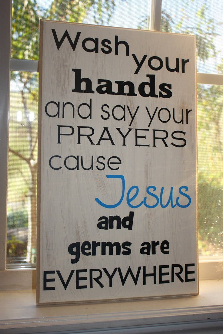 Cute for a bathroom!    Say Your PrayersJesus and germs are by SimpleBlessingsNLife, $45.00