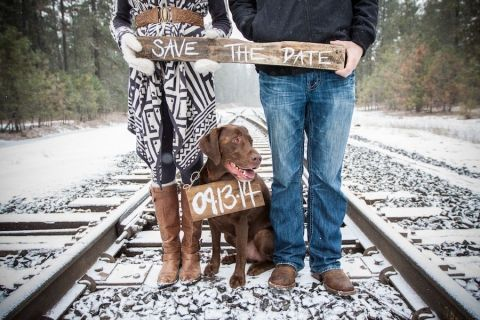 Engagement shoot with our dog. Save the date idea